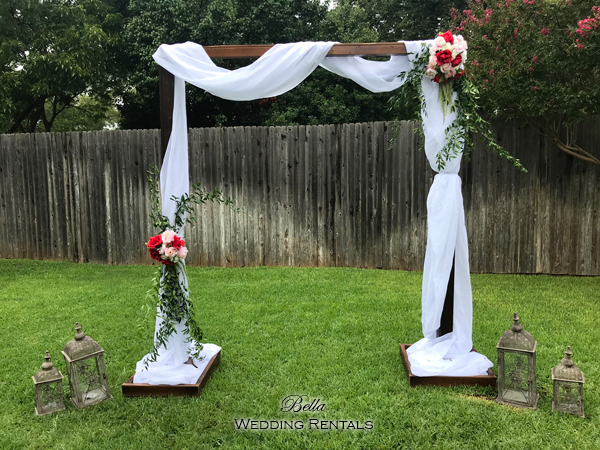 garden wood arch w fabric wedding altar