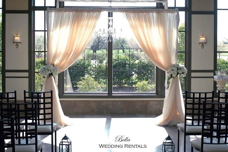 Wedding Altars - chuppah, fabric altar backrounds, non-traditional altars, wood arches, wrought iron arches.