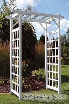 white wedding garden arche