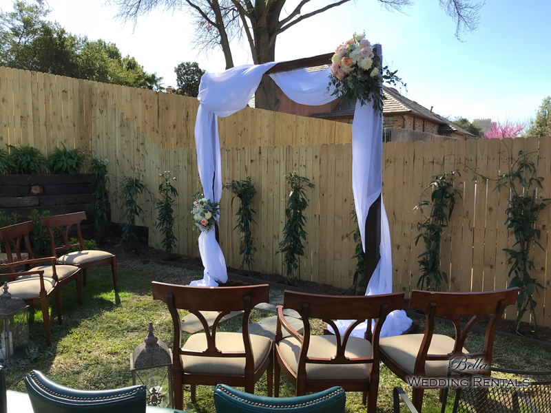 Fabric on Wood Wedding Arch