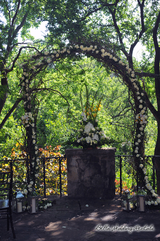 twig and flower garden wedding arch