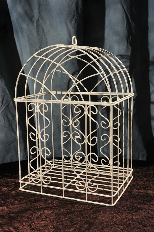 Antique White Iron bird cage rentals
