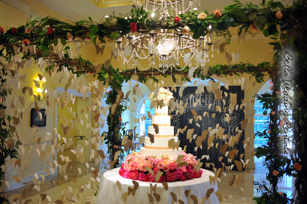 garden twig arch used as a wedding cake canopy