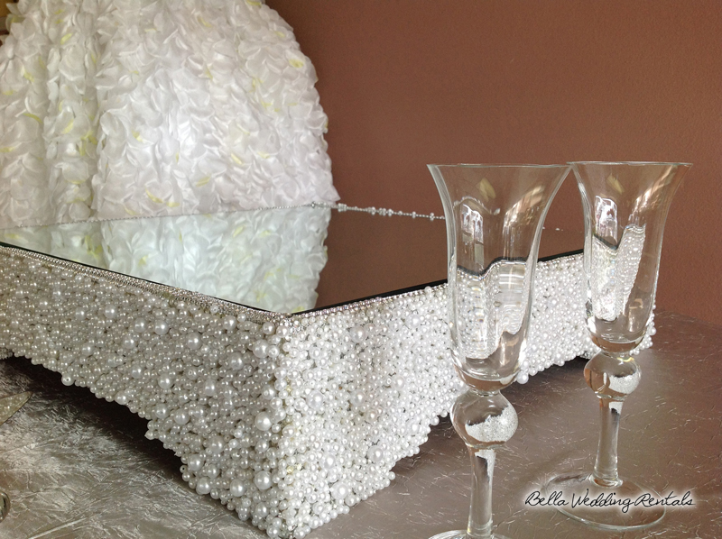 Pearls & Mirror Cake Stand