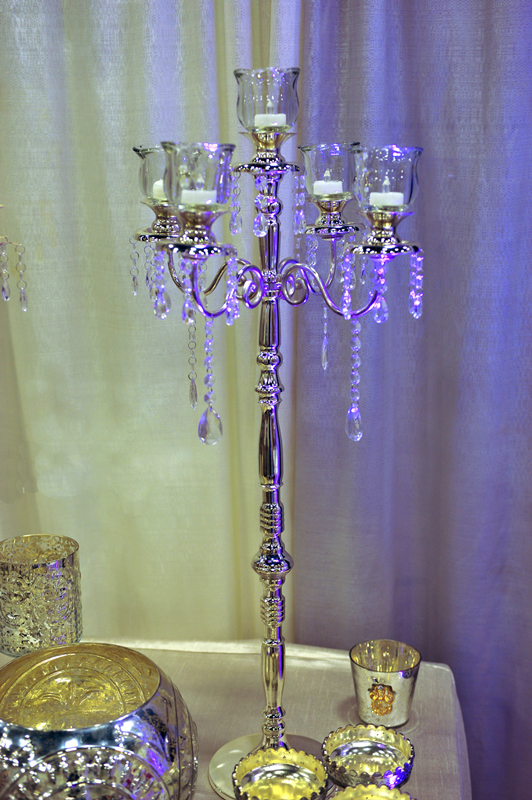 HURRICANE VOTIVES on a Silver Jeweled Candelabra