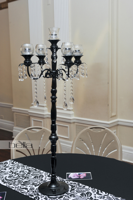 FISHBOWL VOTIVES on a Black Jeweled Candelabra