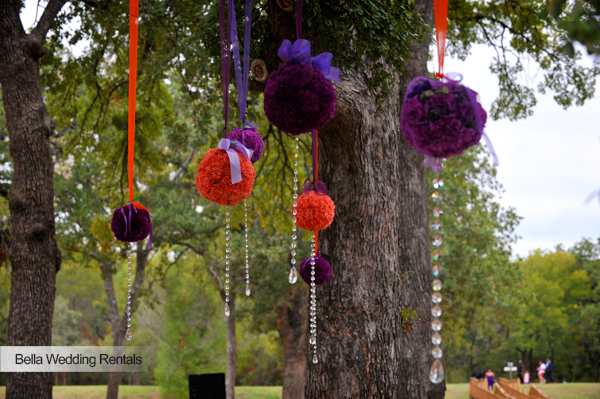 Flower Balls, Ribbon & Hanging Jewel Altar