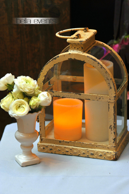 Distressed White Arched Coach Lantern