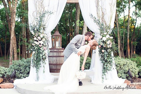 fabric wedding altar - pipe & drape rentals - 7201