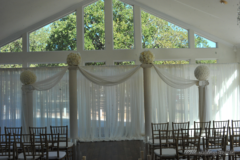 fabric wedding altar - pipe & drape rentals - 7202
