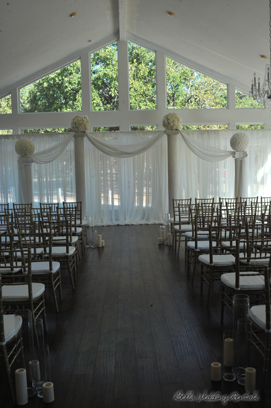 fabric wedding altar - pipe & drape rentals - 7203
