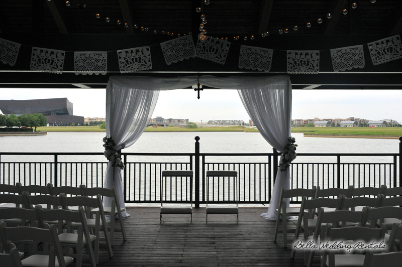 fabric wedding altar - pipe & drape rentals - 7206