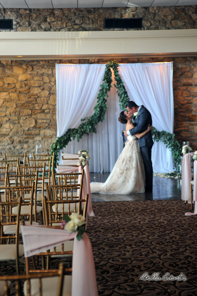 fabric wedding altar - pipe & drape rentals - 7209