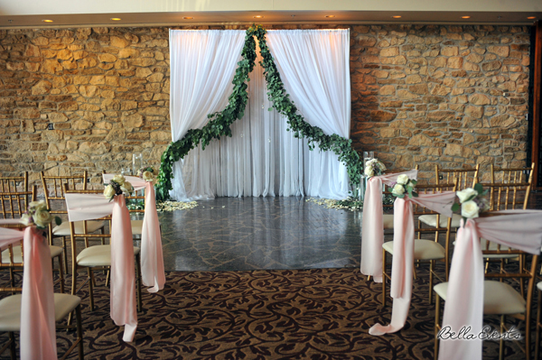 fabric wedding altar - pipe & drape rentals - 7210