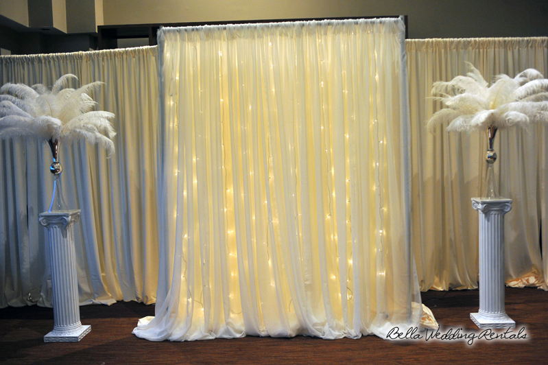 fabric wedding altar - pipe & drape rentals - 7215