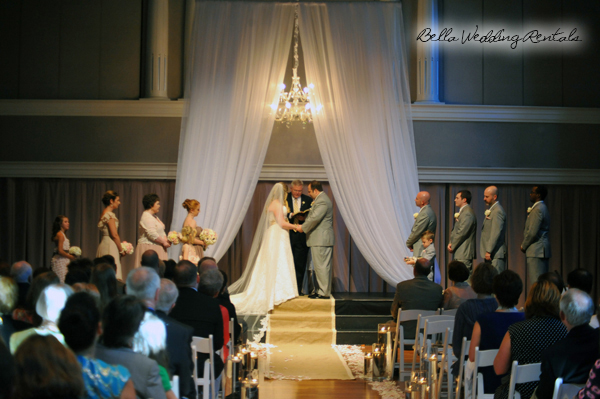 fabric wedding altar - pipe & drape rentals - 7220