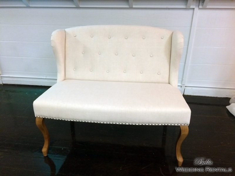 Wingback White Fabric Love Seat