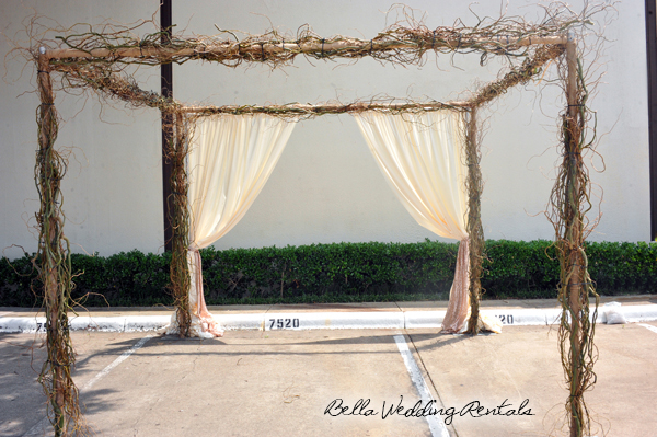 Twig Garden Arch with Fabric
