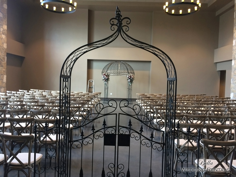 garden arch w gate - wrought iron gazebo - Verona Villa - 7703