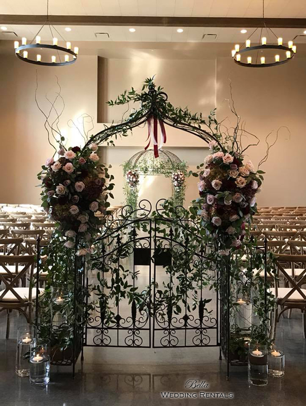 garden arch w gate - wrought iron gazebo - Verona Villa - 7734