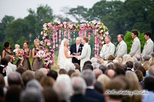 wood garden wedding arch