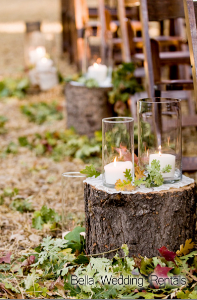 Rustic-Tree-Stump-Aisle-Decor